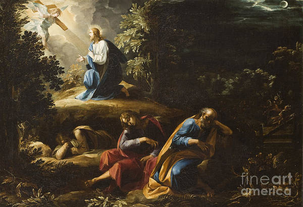 Gethsemane Print featuring the painting The Agony In The Garden by Guiseppe Cesari