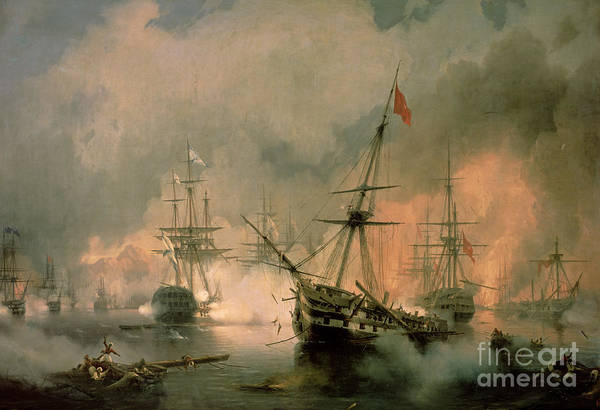 The Art Print featuring the painting The Battle Of Navarino by Ivan Konstantinovich Aivazovsky