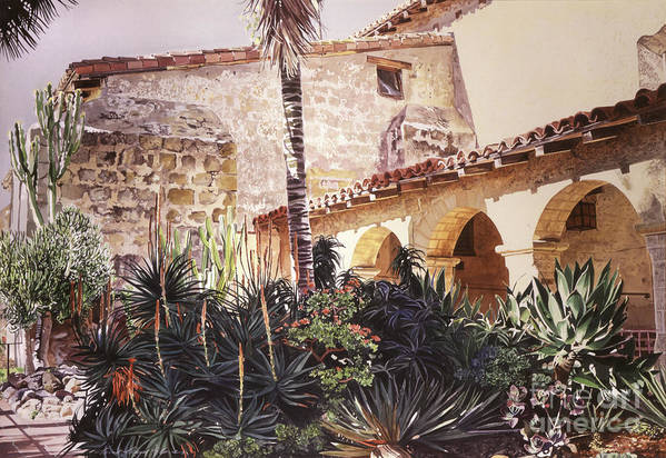 Watercolor Art Print featuring the painting The Cactus Courtyard - Mission Santa Barbara by David Lloyd Glover