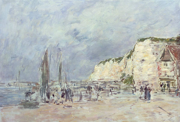 The Art Print featuring the painting The Cliffs At Dieppe And The Petit Paris by Eugene Louis Boudin