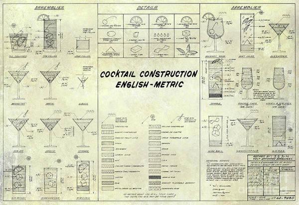 The cocktail construction blueprint art print by jon neidert cocktail construction art print featuring the photograph the cocktail construction blueprint by jon neidert malvernweather Image collections