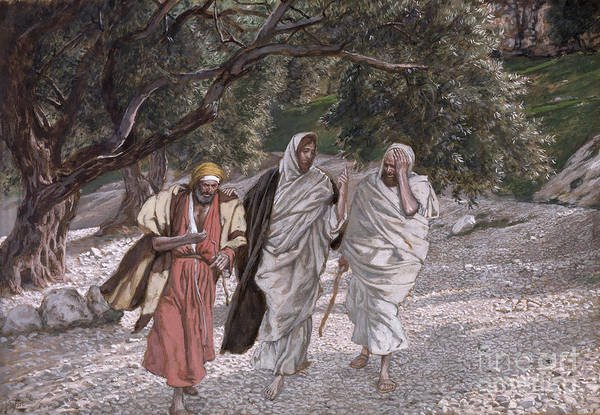 The Art Print featuring the painting The Disciples On The Road To Emmaus by Tissot