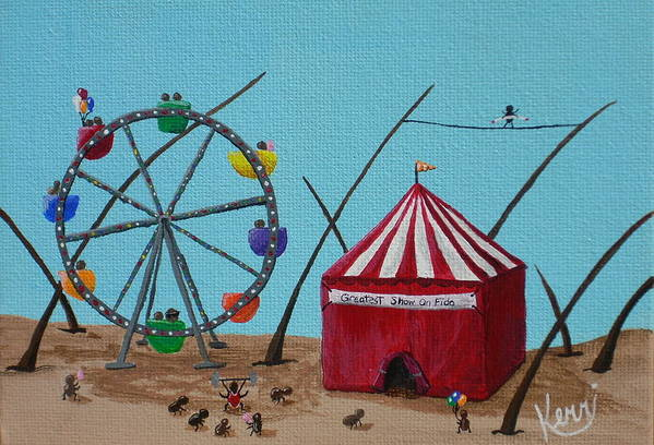 Whimsical Art Print featuring the painting The Greatest Show On Fido by Kerri Ertman