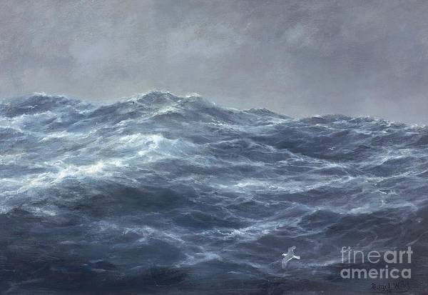Rolling Waves; Wave; Seascape; Turbulent; Stormy; Ominous; Rough Sea; Ocean; Gull; Flying; Storm; Choppy; Darkening Skies; Water Art Print featuring the painting The Gull's Way by Richard Willis