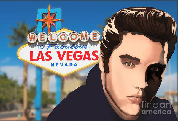 Elvis Art Print featuring the digital art The King by Alan Smith