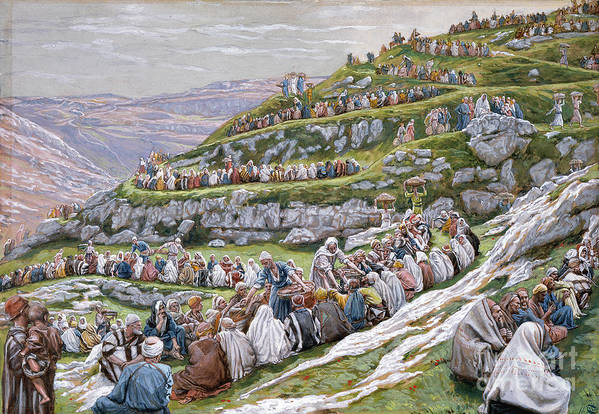 The Art Print featuring the painting The Miracle Of The Loaves And Fishes by Tissot