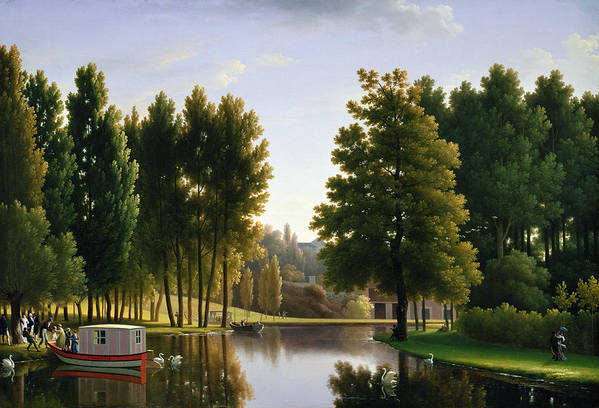 Lake Art Print featuring the painting The Park At Mortefontaine by Jean Bidauld