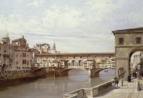 The Art Print featuring the painting The Pontevecchio - Florence by Antonietta Brandeis