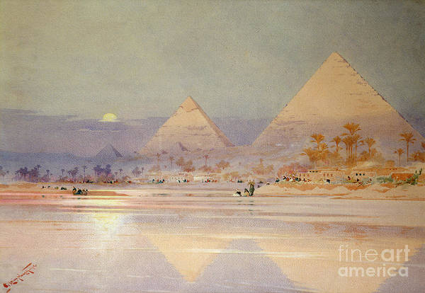 The Art Print featuring the painting The Pyramids At Dusk by Augustus Osborne Lamplough