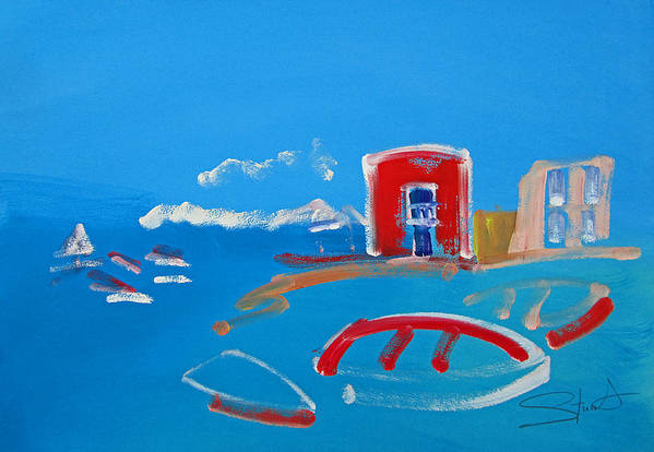 Puerto Art Print featuring the painting The Red House La Casa Roja by Charles Stuart