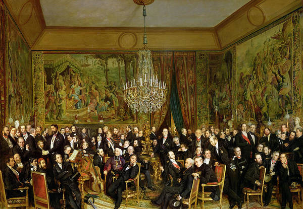 The Art Print featuring the painting The Salon Of Alfred Emilien At The Louvre by Francois Auguste Biard