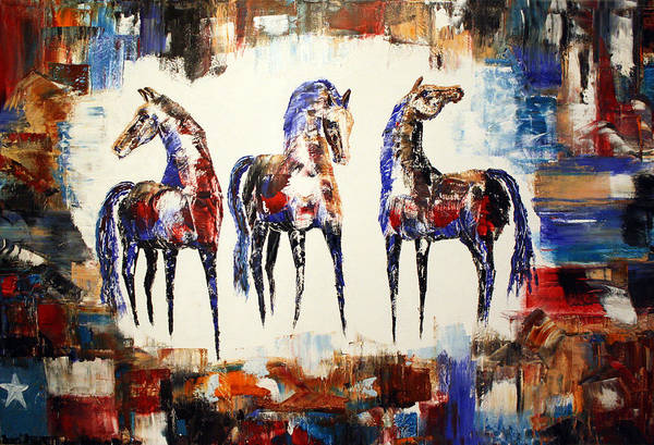 Abstract Horse Painting Art Print featuring the painting The Spirit Of Texas Horses by Jennifer Morrison Godshalk