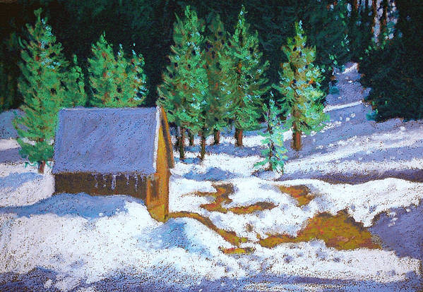 Sierras Art Print featuring the painting The Strawberry Shed by Rhett Regina Owings