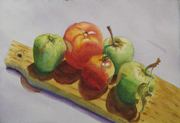 Fruit Art Print featuring the painting Three Apples Two Tomatoes by Libby Cagle