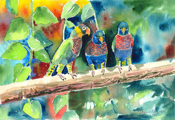 Bird Art Print featuring the painting Three On A Branch by Arline Wagner