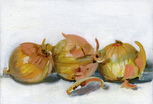 Food Art Print featuring the painting Three Onions by Sarah Lynch