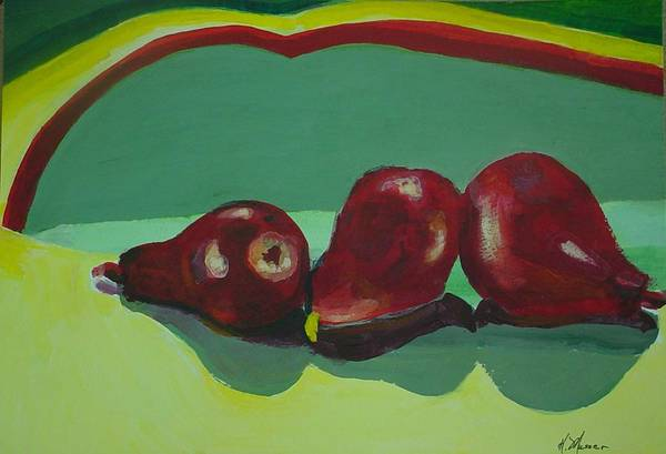 Red Pears Art Print featuring the painting Three Red Pears by Helen Musser