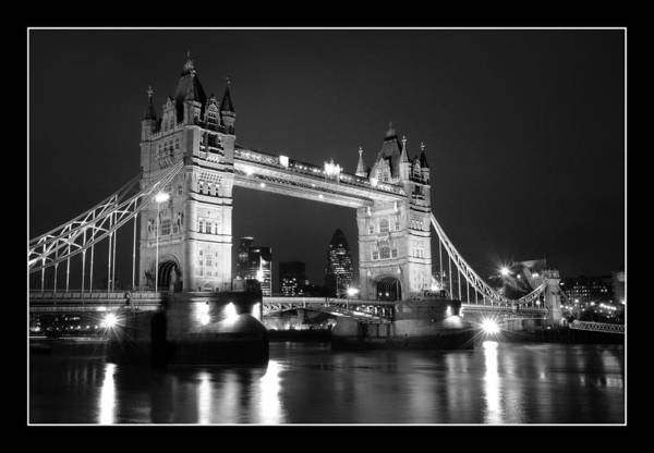 Landscape Waterscape Tower Bridge River Thames Night Lomdon Art Print featuring the photograph Tower Bridge London. by Jon Daly