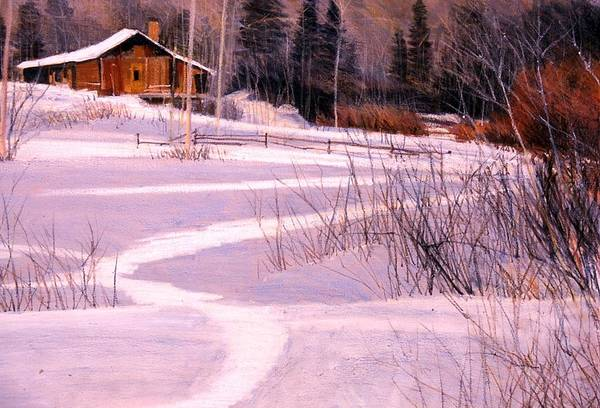 Landscape Art Print featuring the painting Trail To The Cabin by Mark Henthorn