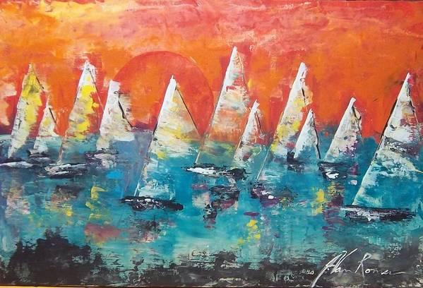 Art Print featuring the painting Tropic Sails by Jim Van Romer