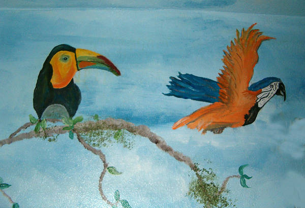 Tropical Birds Art Print featuring the painting Tropical Birds by Mikki Alhart
