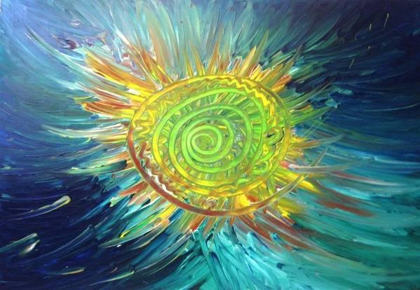 Sun Art Print featuring the painting Tsunami Sun by Bryan Zingmark