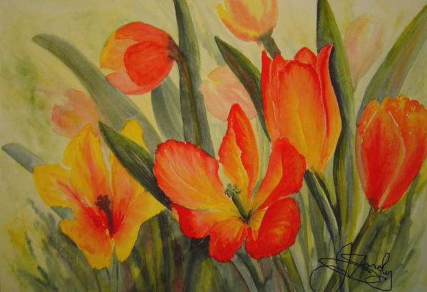 Spring Tulips Art Print featuring the painting Tulips by Joanne Smoley