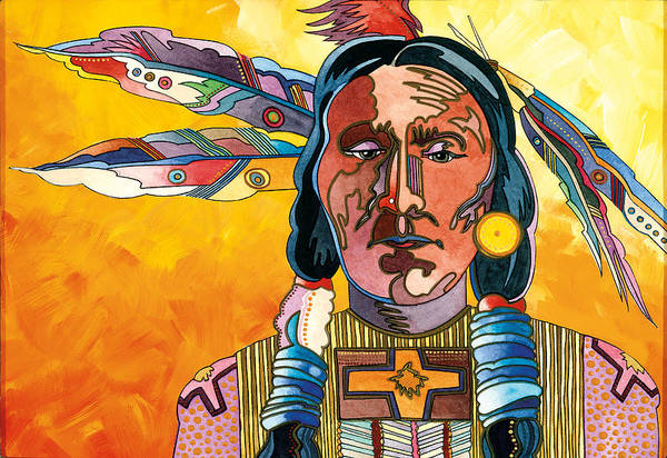 Native American Paintings Art Print featuring the painting Two Feathers by Bob Coonts