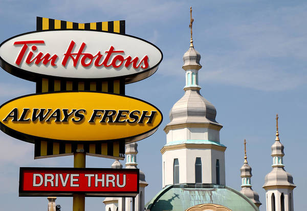 Tim Hortons Art Print featuring the photograph Two Religions by Andrew Fare