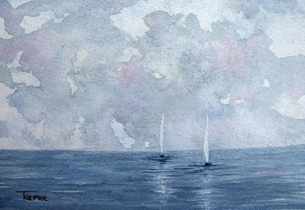 Boats Art Print featuring the painting Two White Sails by Trudy Kepke