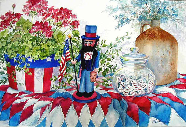 Americana;patriotic;uncle Sam;quilt;stars And Stripes;nutcracker;watercolor Painting; Art Print featuring the painting Uncle Sam And Star Cookies by Lois Mountz