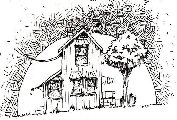 House Art Print featuring the drawing Untitled by Tobey Anderson