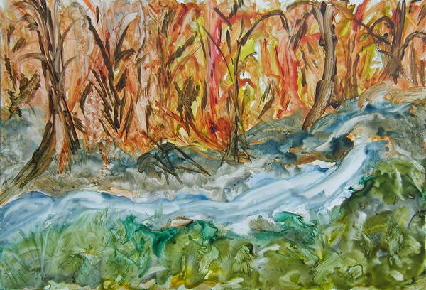 Water Art Print featuring the painting Up The Creek by Margaret G Calenda
