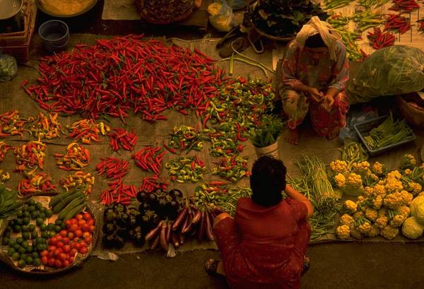 Vegetable Market In Kota Bharu Malaysia Are A Place For Colourful Picture Of Local Life Could Be More Traditional The Ritual Shopping Fresh Produce To On Table At Indoor Farmer Spread Out Their Floor Customer Crouch Select Ingredient And Behind Photo By Michel Guntern Travelnotes Travel Er Pics Travelpics Yellow Asia People Red Pepper Tomatoes Cauliflower Trading Two Women Crouched Crouching Kelantan Fruit An Asian Colorful Business View Food Seller Green Muslim Bazaar Selling Islam Woman Retail Art Print featuring the photograph Vegetable Market In Malaysia by Travel Pics
