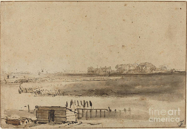 Art Print featuring the drawing View Of Houtewael Near The Sint Anthoniespoort [recto] by Rembrandt Van Rijn