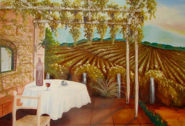 Vineyard Art Print featuring the painting Vineyard II by Karen R Scoville
