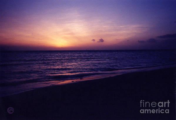 Landscape Seascape Art Print featuring the photograph Waikiki Sunset by Helena M Langley
