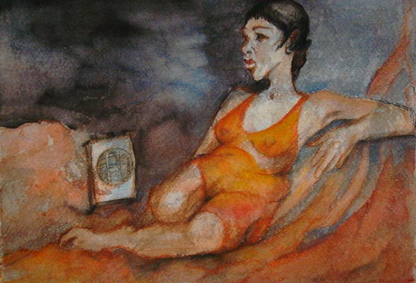 Figurative Painting Featuring A Woman Reclining In Front Of A Small Electric Heater. Figure Is Draped In Orange And Rendered In Hues Of Pinks Art Print featuring the painting Warming Up by Georgia Annwell