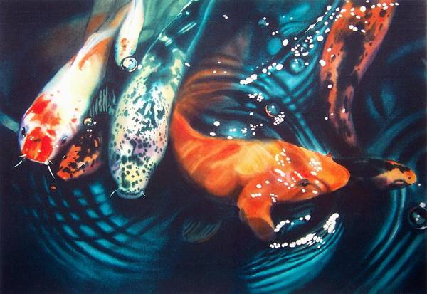 Koi Art Print featuring the painting Water Ballet by Denny Bond