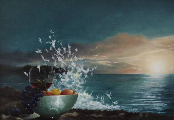 Seascape Art Print featuring the painting Wave by Tjerk Reijinga