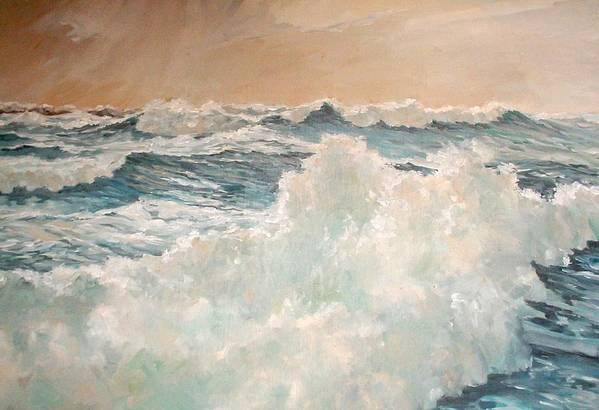 Seascape. Breaking Waves Art Print featuring the painting Waves by Perrys Fine Art