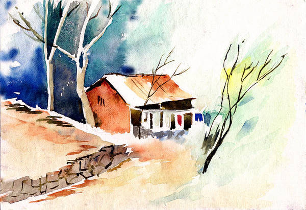 Nature Art Print featuring the painting Weekend House by Anil Nene