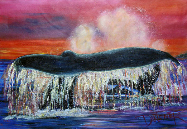 Whales Art Print featuring the painting Whale Of A Tale by Darlene Green