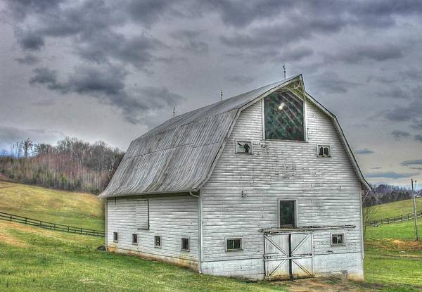 Barn Country Farm Landscape Storm Clouds White America Art Print featuring the photograph White Barn by Judy Baird
