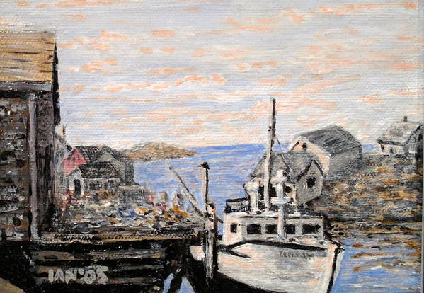 White Art Print featuring the painting White Boat In Peggys Cove Nova Scotia by Ian MacDonald