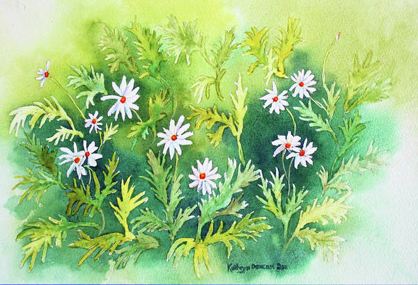 Daisy Art Print featuring the painting White Daisys by Kathryn Duncan