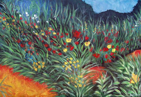 Landscape Art Print featuring the painting Wildflower Garden 2 by Nancy Mueller