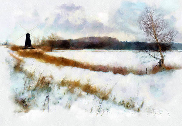 Landscape Art Print featuring the painting Windmill In The Snow by Valerie Anne Kelly