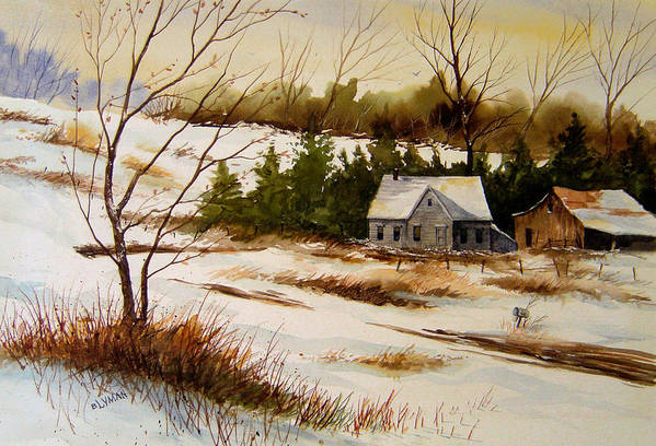 Landscape Art Print featuring the painting Winter Morning by Brooke Lyman