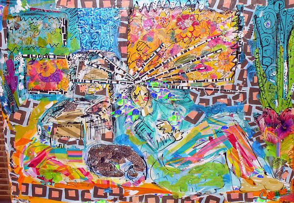 Abstract Art Print featuring the mixed media Woman With Dog by Joyce Goldin